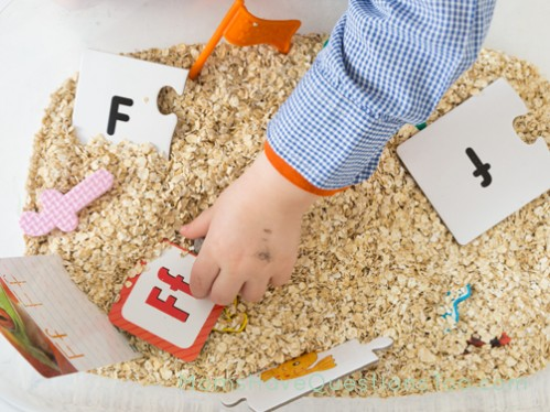 F is for Farm Sensory Bin - Moms Have Questions Too