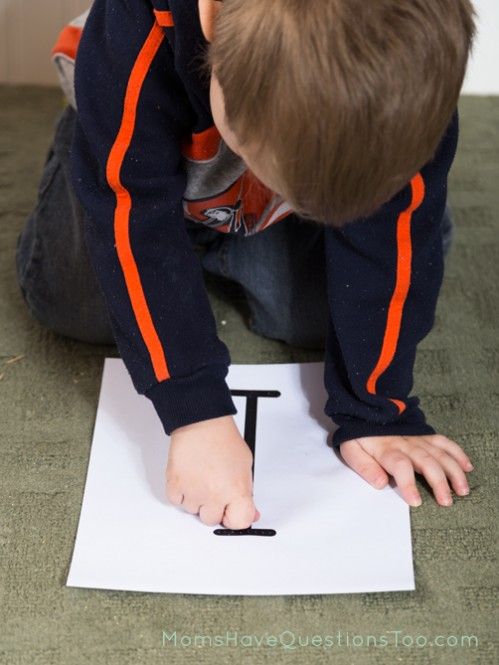 I is for insect poke page. Use an oversized push pin or a toothpick to poke holes in the letter. Part of an entire toddler curriculum.