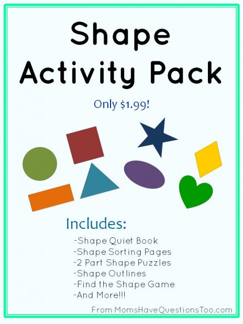 Buy this Shape Activity Pack for only $1.99! Has tons of activities to teach shapes which are perfect for ages 2-5.