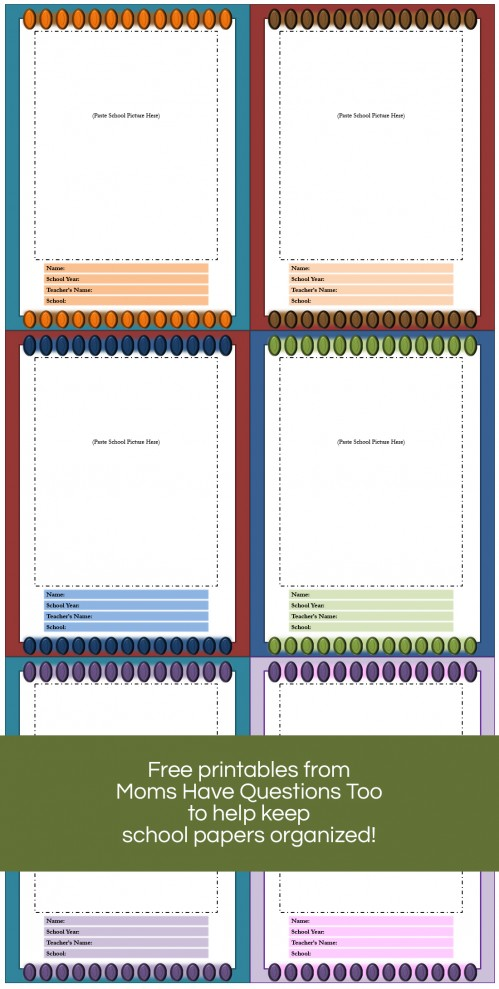 Download these free printables to help organize all your child's paperwork from school - Moms Have Questions Too