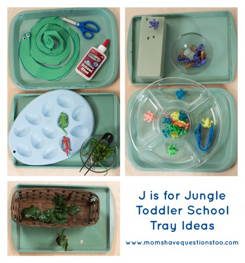 J is for Jungle Toddler School Trays. Tons of great ideas to teach the letter J, plus beading, sorting,and more!