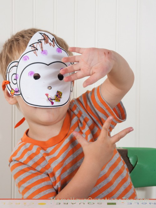 Monkey Mask Activity. J is for Jungle Toddler School. Tons of great ideas to teach the letter J, plus beading, sorting,and more!