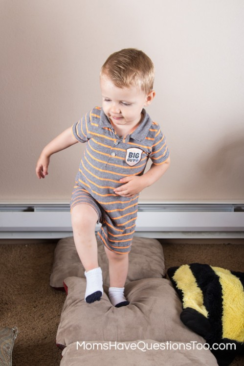 Walking on Pillows for Gross Motor Development - Moms Have Questions Too