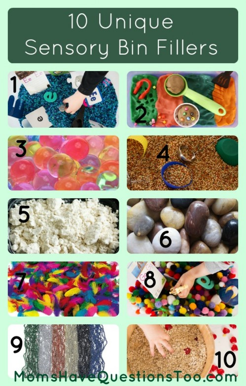 15 Creative sensory bin fillers. Includes both common and unique ideas. Also has container ideas for sensory bins!