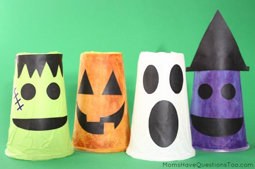 These cute tissue paper cups make a great Halloween craft, plus they double as decoration!