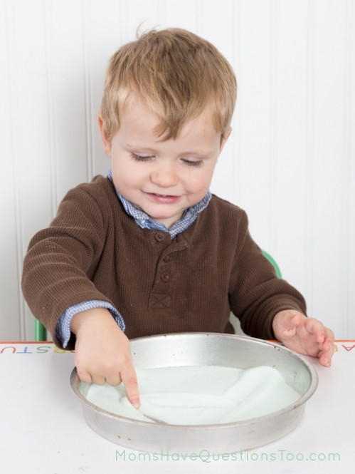 Make the Letter A in a Salt Tray - Moms Have Questions Too