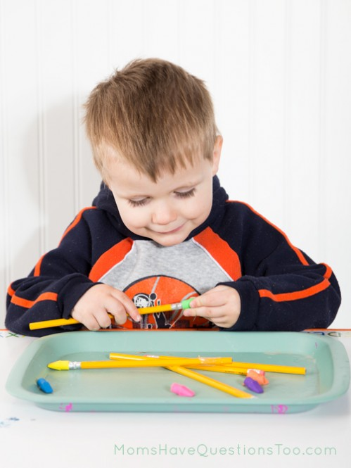 """H is for Hat Tot Tray: Put """"hats"""" (eraser toppers) on pencils."""