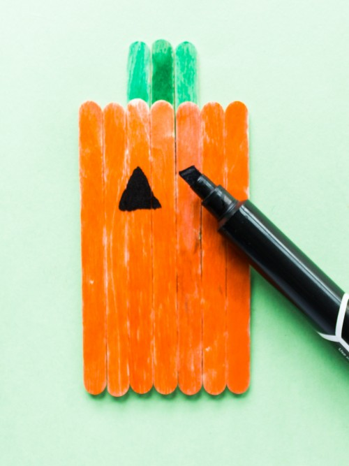 Popsicle Stick Pumpkin and Bat Craft